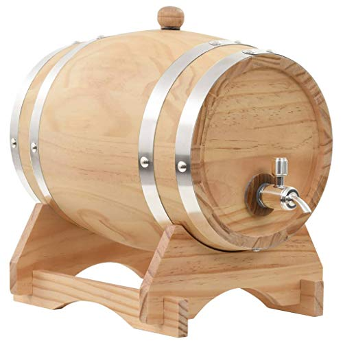 vidaXL Kiefer Massiv Weinfass mit Hahn 6L Holzfass Whiskyfass Schnapsfass Fass