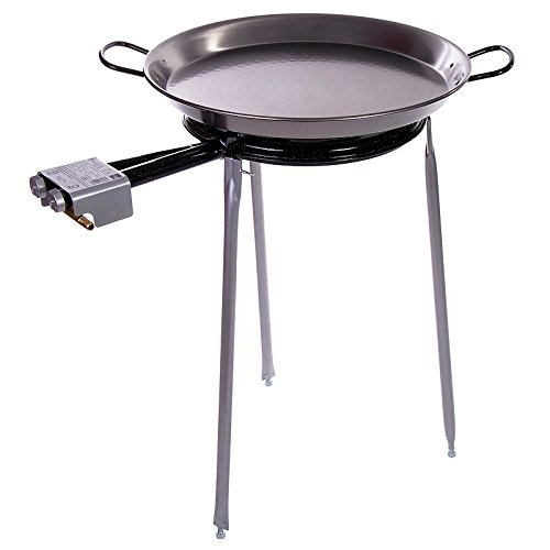 Paella Pan Polished Steel + Paella Gas Burner and Stand Set - Complete Paella Kit for up to 13...