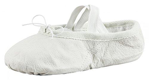 tanzmuster Ballettschuhe/Ballettschläppchen aus Leder, ganze Ledersohle, steinweiß, Größe:33