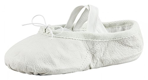 Zapatillas de ballet de piel de bailarina, para niños y adultos, color arena y blanco roca en las tallas 22-45., color Blanco, talla 30 EU