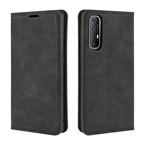 Fertuo Hülle für Oppo Find X2 Neo, Handyhülle Leder Flip Hülle Tasche mit Kartenfach, Magnetverschluss, Silikon Innenschale Schutzhülle Cover Lederhülle für Oppo Find X2 Neo Smartphone, Schwarz