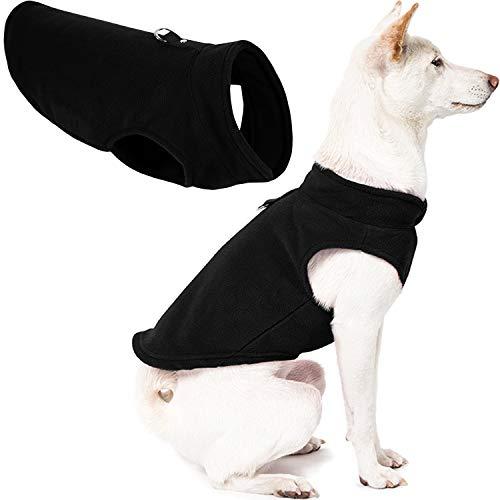 Gooby - Fleece-Weste, Pullover für kleine Hunde, Fleecejacke mit Leinen-Ring, schwarz, Größe XS
