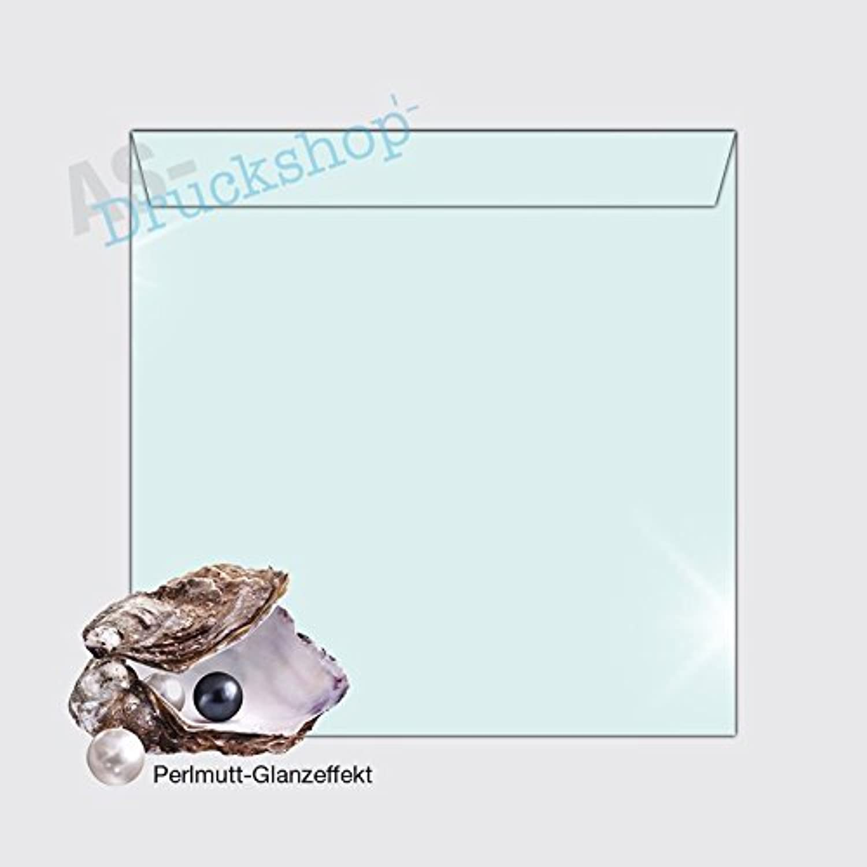 Briefumschlag KuGrün 160 x 160 mm  Wasserblau  - mit Perlmutt-Glanz - 50 Stück B01N4NHH7K | Nicht so teuer