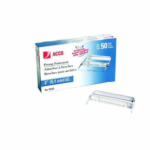 ACCO Premium Prong Fastener for Standard 2-Hole Punch, Complete Set, 2-Inch Capacity, Box of 50 (A7070022)