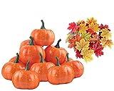 112 piezas decoraciones de Halloween,12 piezas falsas calabazas de Halloween decoraciones artificiales de calabaza y 100 hojas falsas de arce para otoño,Acción de Gracias,decoración de mesa