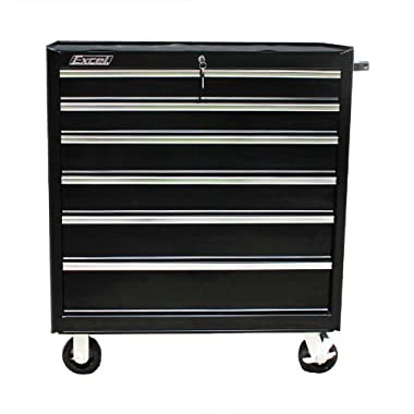 Excel TB2608X-Black 36-Inch Roller Metal Tool Cabinet with 7 Drawers