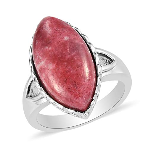 TJC Solitaire Ring for Women Size O Red Thulite Engagement Jewellery in Stainless Steel