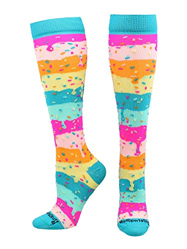 MadSportsStuff Rainbow Sprinkles Over The Calf Length Socks (Rainbow, Medium)