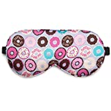 Lavley Natural Silk Sleep Masks for Women with Comfy Adjustable Strap, Cute Novelty Eye Covers for Sleeping, Travel & Relaxation (Donut Wake Me)