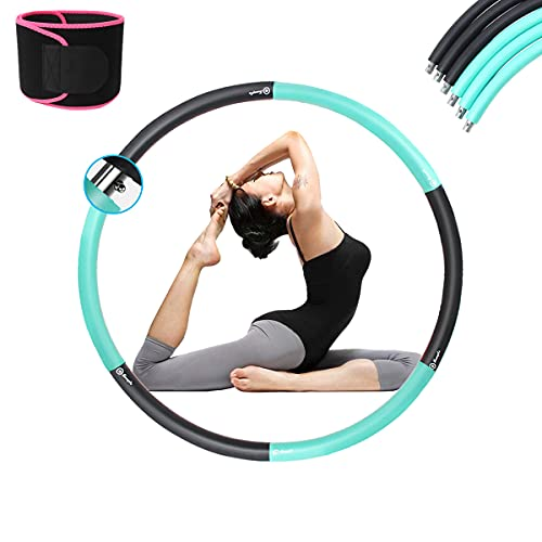 MOZX Hula Hoop, Hoola Hoop con Cintura Fitness, Hula Hoops Profesional Desmontable para Adulto, Hula Hoop De Peso Ajustable para Adultos Reducción De Peso Y Masaje,Black+Green