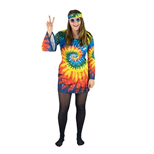 Bodysocks Fancy Dress Disfraz de Hippie de los 60 y 70 para Mujer (Mediana)