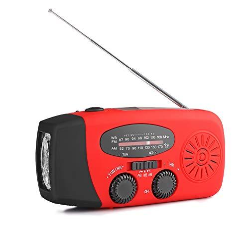 AOZBZ Solar Radio Portátil, Manivela de la Mano Am/FM/NOAA Radio, Multifuncional Dinamo Weather Radio 3-LED Linterna