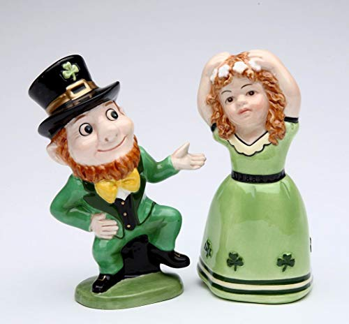 Fine Ceramic Irish Dancing Leprechaun and Girl Salt and Pepper Shakers, 4' H