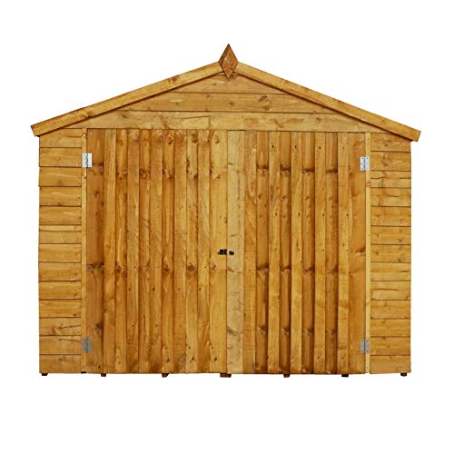 WALTONS EST. 1878 Wooden Bike Shed 7x3 Outdoor Garden Bicycle Storage, Overlap, Apex Roof (7 x 3 / 7Ft x 3Ft)