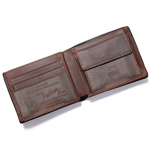Personalized Engraved Leather Wallet for Dad Son Husband Boyfriend - Birthday Fathers Day Valentines Christmas Anniversary Graduation Wedding - Men Custom Bifold Wallets for Him with Love Message
