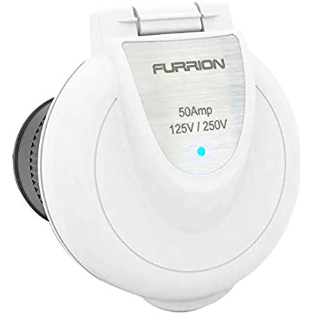 Furrion F52INR-PS-AM White Round 50 Amp 125/250V Marine/RV Inlet with Power Smart LED