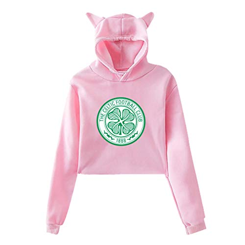 Nyanhif Womens Real Madrid Navel Exposure Hooded Cat's Ear Long Sleeves Fashion Sweater Pink Medium