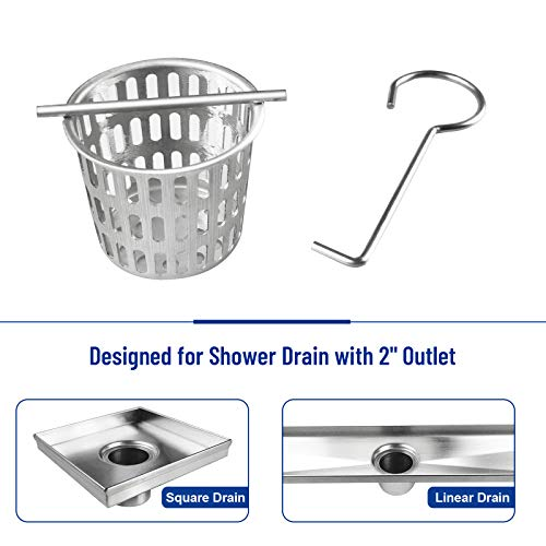 Bernkot 2 Inch Shower Drain Strainer Hair and Debris Strainer Drain Basket Stainless Steel Anti-Clogging Fits Square or Linear Shower Drain with 2