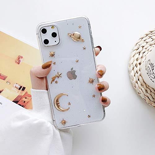 Zaxgf Hülle kompatibel mit iPhone 11 Silikon HandyHülle Süßes Motiv Transparent Weich TPU Schutzhülle Ultra Dünn Stoßfest Antikratz Hülle Cover für iPhone 11 Gold Planet