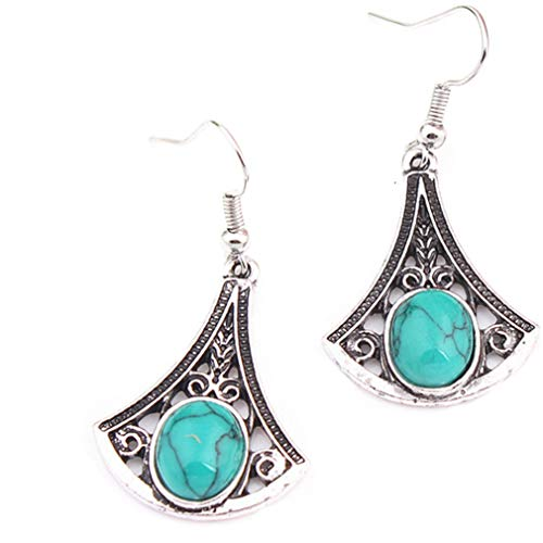 YAZILIND retro estilo étnico turquesa colgante gota dangle bohemio anzuelos de pescado pendientes mujeres fiesta oreja joyería