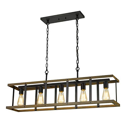 Eapudun Kitchen Island Lighting, 38.3-Inch 5 Light Farmhouse Linear Chandelier for Dining Room Pool Table Pendant Light Fixture,Matte Black and Wood Finish, PDA1140-FBDT