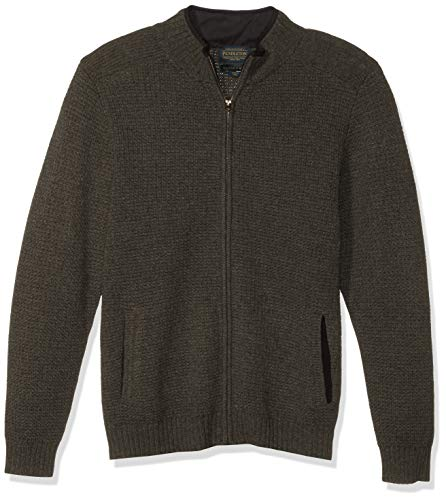 Pendleton Men's Shetland Full Zip Cardigan Sweater, Dark Army Green, XXL
