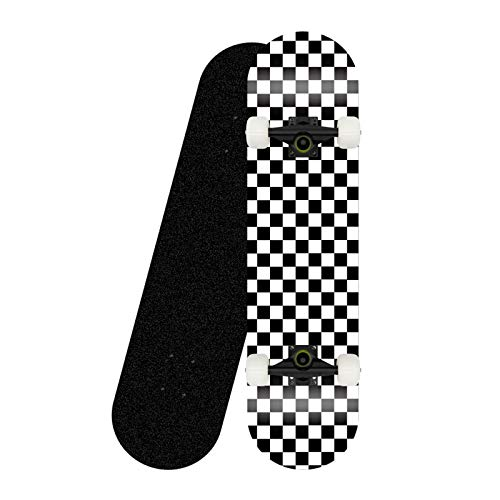 Photo of CUTEY Standard Tricks Skateboard Complete 31″ Checkered Pattern 7 Layers Maple Decks Double Kick Concave Skate Board,black bracket