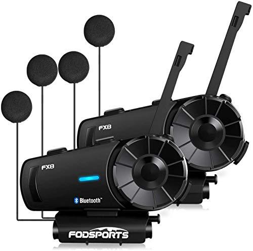 Fodsports FX8 Bluetooth Headset Motorradhelm Intercom, Motorrad Kommunikationssystem 8 Fahrer Gruppe Intercom mit FM Radio, Rauschunterdrückung, Sprachbefehle (2 Pack)
