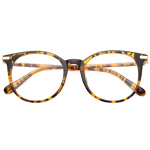 Gaoye Blue Light Blocking Glasses, Stylish Retro Round Frame Anti UV Ray Computer Gaming Eyeglasses Women Men (Leopard Frame/Transparent Lens)