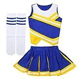 IEFIEL 3pcs Cheerleading Pompons Fille Pom-Pom Girls Pompoms Débardeur Haut et Jupe Chaussettes Sports Tenues de Ballet Danse Scolaire Déguisement Fête Performance Jaune&Bleu 5-6 Ans