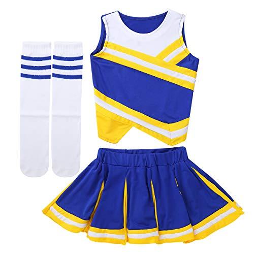 IEFIEL 3pcs Cheerleading Pompons Fille Pom-Pom Girls Pompoms Débardeur Haut et Jupe Chaussettes Sports Tenues de Ballet Danse Scolaire Déguisement Fête Performance Jaune&Bleu 8-10 Ans