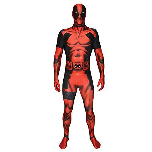 """TRAJE DE LICENCIA MARVEL OFICIAL: Disfraz de Deadpool, para cuando necesites hablar rápido, y tirar a los brillantes en la fiesta. GUêA DEL TAMA""""O APROPIADO: Tama–o basado en altura: Grande 5 """"5-5"""" 9 (163cm-175cm) PERFECTO PARA UNIRSE CON UN MANOJO D..."""