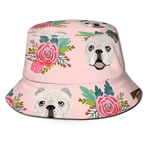 Sombreros de Cubo Transpirables con Parte Superior Plana de Flores Rosas de Bulldog inglés, Unisex, Ranas en Gafas, Sombrero de Cubo, Sombrero de Pescador de Verano