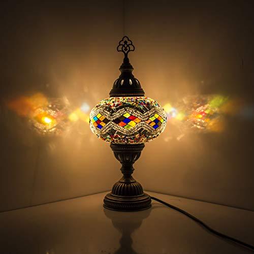 Hecho a mano plata turco árabe marroquí oriental Tiffany estilo mosaico de vidrio hermosa mesa lámpara de escritorio lámparas decoración del hogar