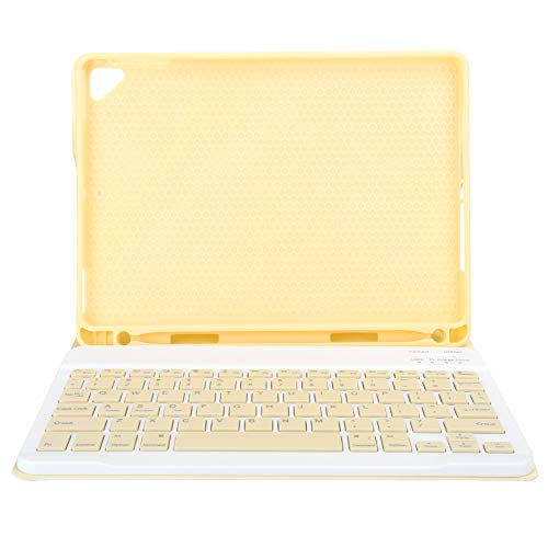 Bicaquu Comfortable Touch Keyboard, Convenient Wireless Keyboard, with PU Leather Cover Computer Supplies for Office Tablet Computer Laptop(yellow, IPAD 9.7 with pen tray)