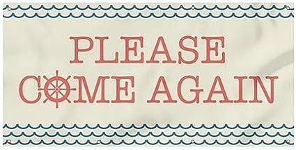 Please Come Again 8x4 CGSignLab Nautical Wave Heavy-Duty Outdoor Vinyl Banner