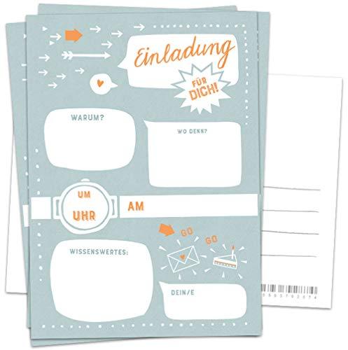 10 Einladungskarten - Einladung für dich - Petrol Blau Weiß Orange, Postkarten Einladungen zum Geburtstag, Party, Einzug, Abschluss, Abschiedsfest u.v.m, retro Design mit Adressfeld