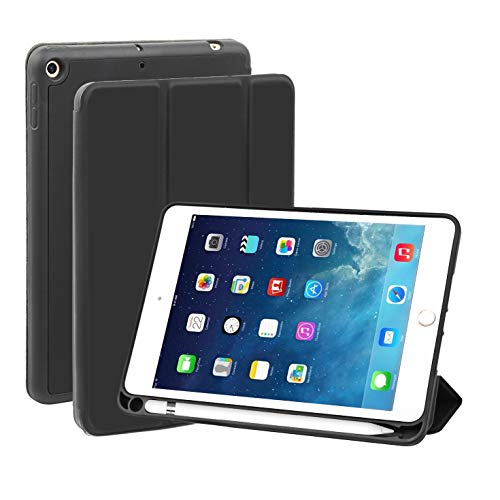 BUHORE iPad Mini Case for iPad Mini 5th Gen. (Launched 2019), Soft TPU Back Cover with Apple Pencil Holder, Trifold Magnetic Smart Cover/Stand, Black