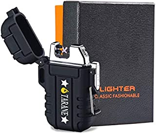 Plasma Lighters, Waterproof Windproof Flameless Lighters Dual Arc USB Electric Lighters Rechargeable for Outdoor/Camping/BBQ/Hiking (Black)