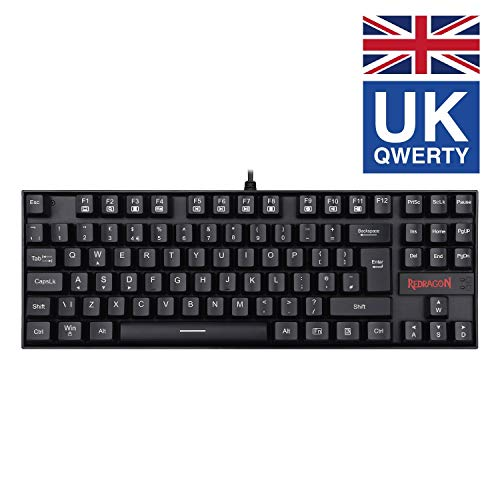 Redragon K552 60% Mechanical Gaming Keyboard Wired with Red Switches Cherry MX Equivalent for Windows Gaming PC UK Layout (No Backlit Black)