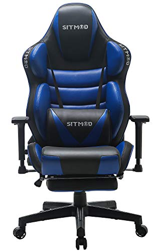 SITMOD Sillla Gaming Racer Sillas de Escritorio Ergonomicas Sillón 200kg Reclinable, Silla de Escritorio XL Gaming Sillas Ordenador Esport Silla Bordado Luminoso con Reposapies-Azul