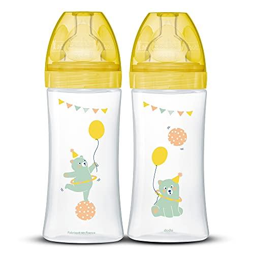 DODIE Lot de 2 Biberons Anti-Colique Sensation+ (2x330 mL) - Tétine Plate, Débit 3, Sans BPA - +6 mois – Jaune Cirque