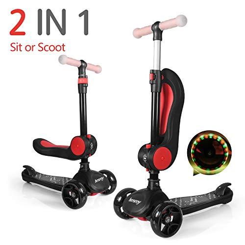 besrey 2-in-1 Kinderscooter, Kinder Roller, Kleinkinder Scooter. Mit klappbarem Sitz, verstellbarem Lenker und LED-Rädern. Geeignet für Kinder von 2-14 Jahren.
