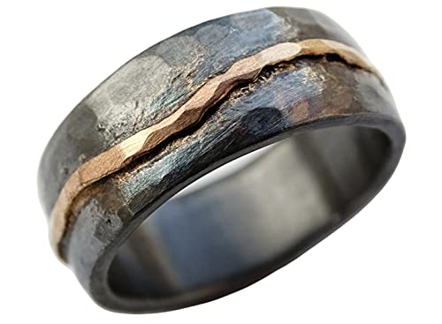 hammered gold wedding band black silver, man wedding band, organic wave ring gold, viking wedding ring forged, celtic promise band, cool mens ring
