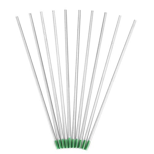 10Pcs Electrodos de tungsteno puro WP Green Tip 1.0/1.6/2.0/2.4/3.2mm 250-400A para soldadura AC Tig(3.2mm*150mm)