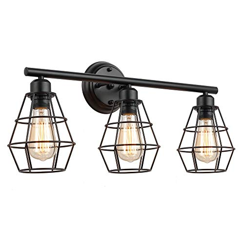 KOONTING 3-Light Industrial Bathroom Vanity Light, Metal Wire Cage Wall Sconce, Vintage Edison Wall Lamp Light Fixture for Bathroom, Dressing Table, Mirror Cabinets, Vanity Table.