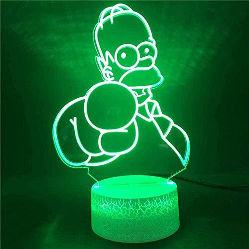 Dalovy Festival 3D Lámpara de Ilusión Luz de Noche Led Los Simpson 7 Colores con Control Remoto para Bebé Base Luminosa Dormitorio Sensor Táctil