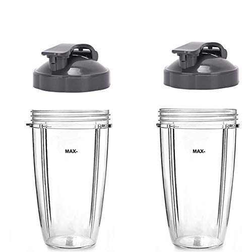 2 Pack 32OZ Cup Replacement with Flip Top to-Go Lid for Nutribullet,Clear Cups Mugs Replacement Part Juicer Accessories for NUTRIBULLET Nutri Bullet 900W 600W Blender Juicer (32oz) (32OZ)