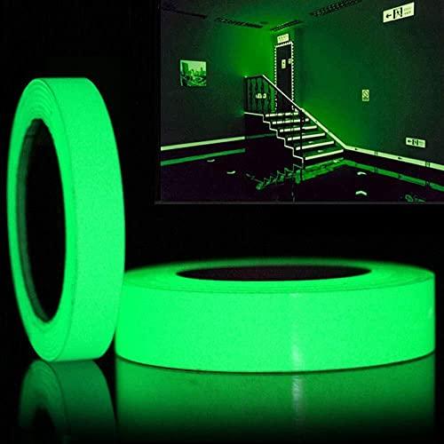 2 Volúmenes Cinta luminosa Verde Cinta Fluorescente Impermeable Autoadhesivo Advertencia de Seguridad Nocturna Se Usa para Brillar en la Oscuridad Interruptor Escaleras Decoración de Fiestas