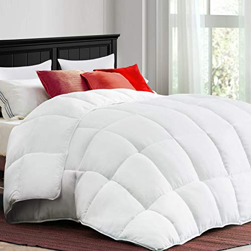 COONP All Season King Comforter Soft Quilted Duvet Insert with Corner Tabs, Filled with 3D Snow Down Alternative,Winter Warm,Machine Washable-102 x 90 Inches, White